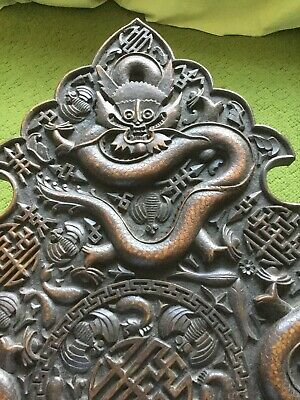 Chinese Dragons Elaborately Carved Table Or Carved Panel Antique  • 180£