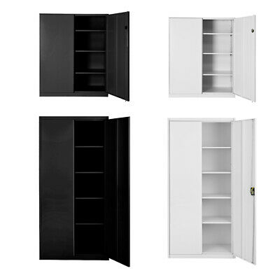 Steel Filing Cabinet Office Metal Frame Storage Lockers 3/4/5 Tier Lockable Door • 78.99£