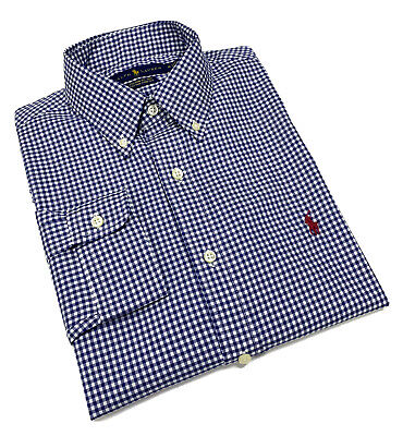 Ralph Lauren Gingham Custom Fit 100% Cotton Stretch Shirt  NavyBlue / White  • 44.99£