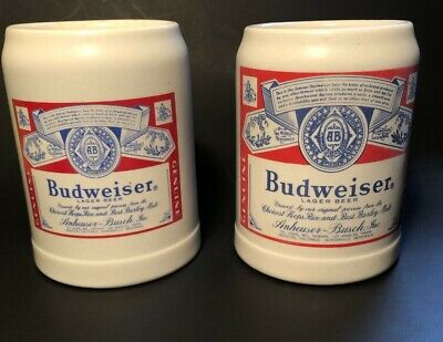 $ CDN35.28 • Buy 1980 Budweiser Beer Stein Rare Set Of 2 - CS46 - Large & Small Label