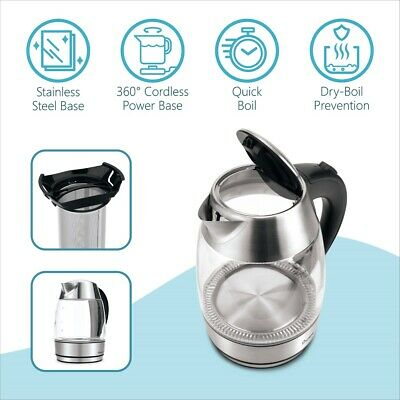 AU30.73 • Buy EcHome 1.7L Cordless Electric Glass Kettle With Tea Filter Thermostat  ESKG17TF