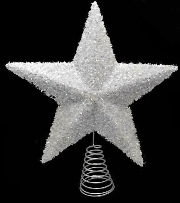 Large Sparkly Star Tree Topper White 27cm Festive And Christmas Decoration • 5.65£