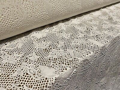 Cream Stretch Crochet Lace Dress Fabric, Per Metre • 4.99£