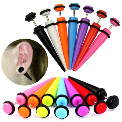 2pc Acrylic Fake Cheater Taper Ear Plug Earring Screw Illusion Stretcher Tunnel • 2.09£