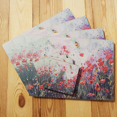 Set Of 4 Poppy Cork Placemats & Coasters New Floral Butterfly Table Place Mats • 14.99£