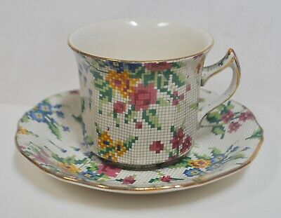 $ CDN50.63 • Buy Vintage Royal Winton Grimwades Needlepoint Chintz Tea Cup & Saucer