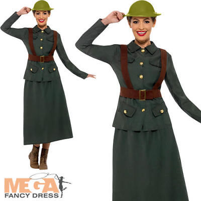 WW2 Army Warden Ladies Fancy Dress Military Uniform Womens Adults 1940s Costume • 22.99£