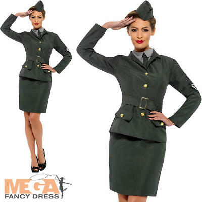 WW2 Army Girl Ladies Fancy Dress Military Soldier Uniform Womens Adults Costume • 23.99£