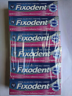 $18.99 • Buy 6 PACK Fixodent Denture Adhesive Cream, Original, Strong And Long Hold - 0.75 Oz