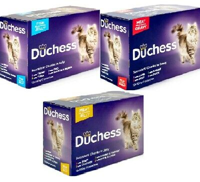 DUCHESS POUCHES 12 PACK Wet Adult Cat Food Fish Meat In Jelly Or Gravy Bp Meals  • 9.99£