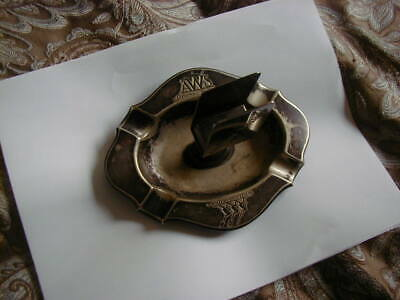One Of A Kind Old Pewter ? Ashtray Match Box Holder Original Wellner Aws Silber • 55.22£