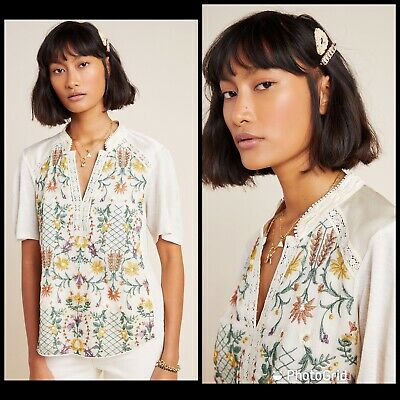 $ CDN66.23 • Buy Anthropologie Size Large Eliana Floral Embroidered Top By Tiny Multicolor New