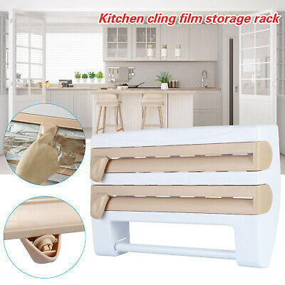 £7.30 • Buy Cling Film And Kitchen Foil Dispenser Paper Towel Roll Holder Wall Mounted Rack