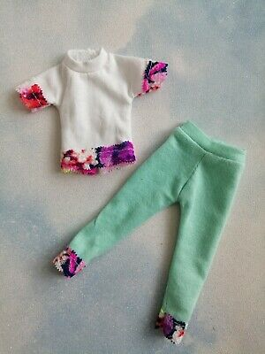 £6.99 • Buy Barbie Doll Outfit,  White Blue Outfit, Leggings And Top