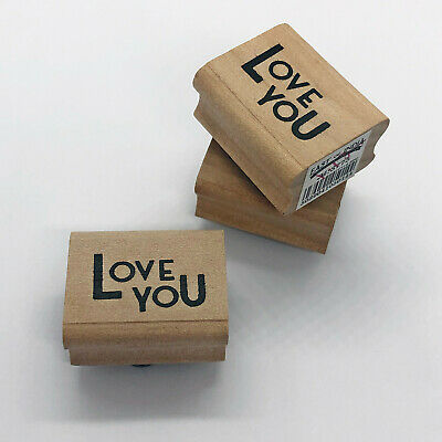 £2.29 • Buy BN East Of India Wooden Rubber Stamp - Love You Design Wedding Invite Occasion