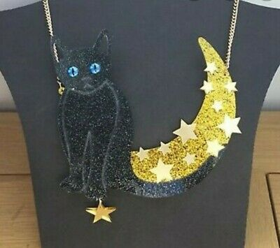 LASER CUT Large Chunky Cat Moon Necklace Acrylic Quirky Unique Cute • 24.80£