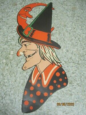 $ CDN41.23 • Buy Vintage H.E. Luhrs Embossed Die Cut Halloween Large Witch With Hat & Moon