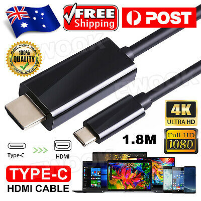 AU11.95 • Buy USB C To HDMI Cable USB Type C Male To HDMI Male 4K Cable For Macbook Chromebook