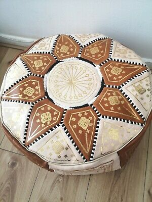 Moroccan Pouffe Leather Brown Cream Seating Ottoman Poufe New Pouf • 29.99£