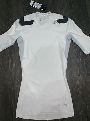 New Adidas TechFit Base Layer Mens Compression ClimaLite Short Sleeve Size S • 10£
