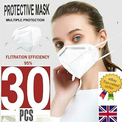 ✅30 FACE MASKS✅PPE FACE New✅30 X Face Mask ✅Protection 95%✅Anti Bacterial, ✅ • 9.99£