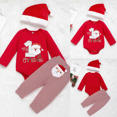 Baby Boy My First Christmas Outfit Suit Hat Romper Pants Set Santa Claus Clothes • 8.39£