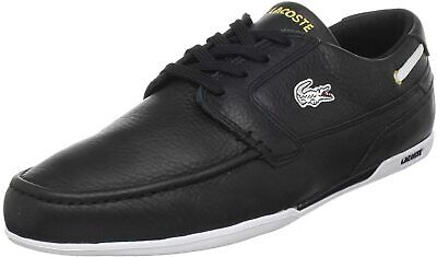 Lacoste Men Boat Shoe Sneakers Dreyfus Size US 11.5 Black Eco Leather • 63.25£