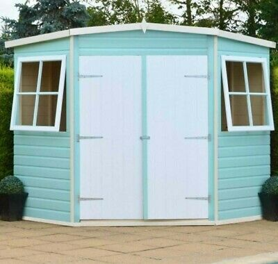 8x8 CORNER GARDEN SHED TONGUE & GROOVE CLAD CORNER DOUBLE DOORS WINDOWS NEW 8FT • 769.94£