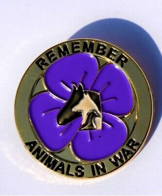 Animal Poppy - Remember Them Too. Purple Pin Badge BNIB. Free UK Post • 3.99£