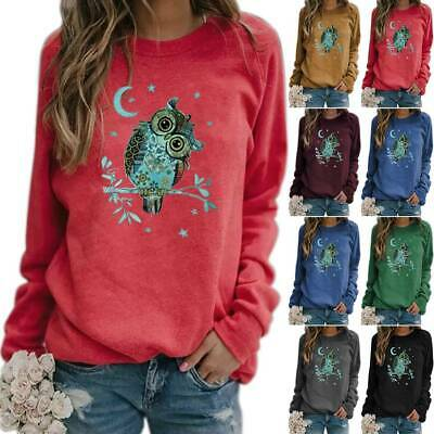 Ladies Owl Pattern Printed Tee Shirt Jumper Pollover Long Sleeve Sweatshirt Top • 16.19£