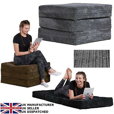 JUMBO CORD Adult Pouff Fold Out Futon Single Guest Z Bed Chair Mattress Sofa Bed • 49.99£