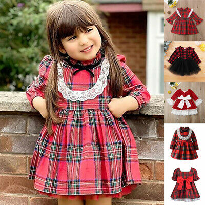 Girl Toddler Kids Christmas Ruffle Plaid Check Tartan Dress PARTY Costume Outfit • 10.59£