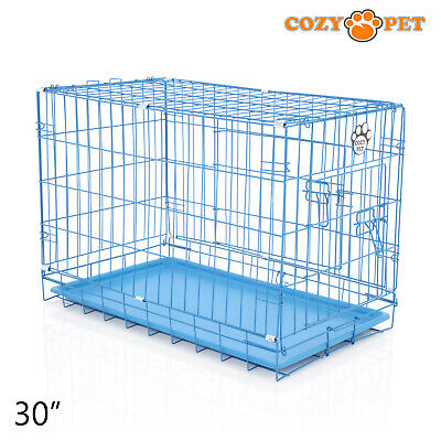 £33.99 • Buy Dog Cage 30 Inch Puppy Crate M Cozy Pet Blue Dog Crates Folding Metal Cages