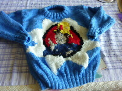 Hand Knitted  Child's Fireman  Sam Sweater In  Blue D.K.- To Fit 22-24in Chest • 12.95£