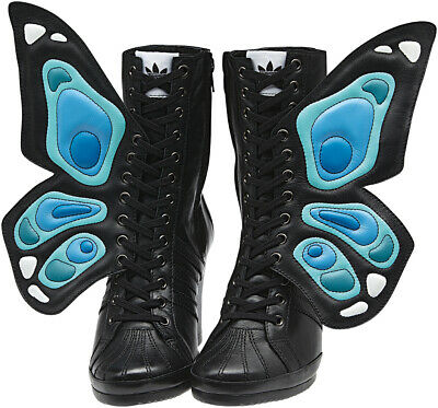 2012 ADIDAS JEREMY SCOTT JS WINGS WEDGE BUTTERFLY UK6 US7,5 Boots G61078 Tongue • 1,490£