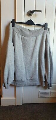 H&M Womens Grey Off The Shoulder Balloon Sleeves Jumper Top Size L • 7£
