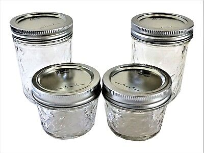 $9.95 • Buy Ball Mason Jelly Jars 2-8 Oz., 2-4 Oz Quilted Crystal Regular Mouth-Set Of 4