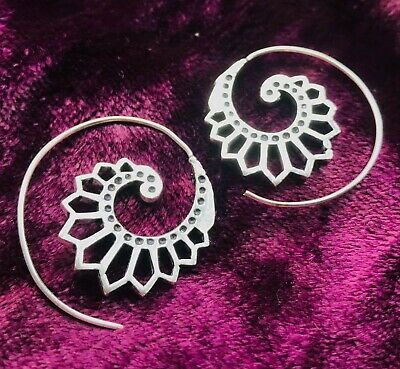 £6.99 • Buy Silver Plated Small Lotus Flower Spiral Earrings - Boho, Hippy, Xmas Ladies Gift