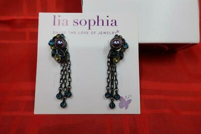 $ CDN16.86 • Buy Pretty Signed Lia Sophia Gothica 4 In 1 Post Earrings Hematite Green Blue Dangle