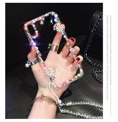 AU8.96 • Buy Hot Diamond Flower Chain Women Girl Glitter Fashion Case Cover For Various Phone