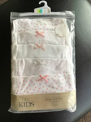 New 5 Pack Girls Pure Cotton Vests Age 4-5 Years Marks & Spencer White Pink Mix. • 7.99£