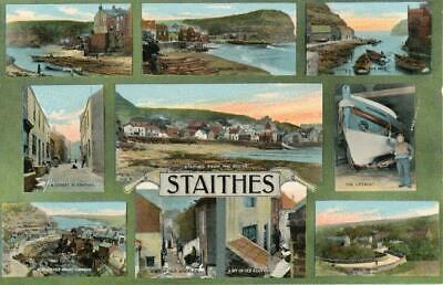 Printed Multiview Postcard Of Staithes, (near Whitby), North Yorkshire By Ross • 8£