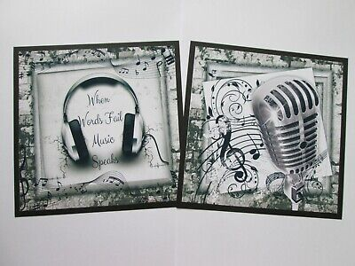 £1.25 • Buy 2 X  Musical Themed -- Earphones & Microphone Card Toppers & Sentiments