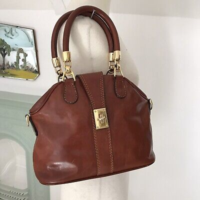 LEATHER Tan Ceancarel Vintage Ladies Handbag Carry Grab Bag Gold Detail 1980s • 21.50£