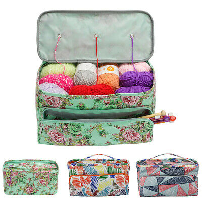 Knitting Yarn Storage Bag Case Crochet Hooks Thread Sewing Kits Organizer Bags • 10.89£