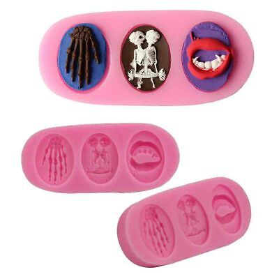 £2.59 • Buy Skull Ghost Silicone Fondant Mould Cake Decorating Sugarcraft Topper Baking Mold