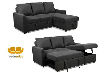 Grey Sofa Bed Corner - Fabric Sofa Bed With Storage & Reversible Chaise • 599£