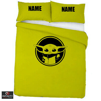 Star Wars Baby Yoda Movie Duvet Cover & Pillows Bedding Personalised LIME GREEN • 34.99£