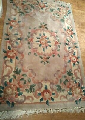 Large Chinese Vintage, Frilled, Floral And Thick Pile Rug • 149£