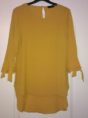 ** New ** Ladies Mustard Coloured Dressy  Top/tunic  Size 12 • 4.50£